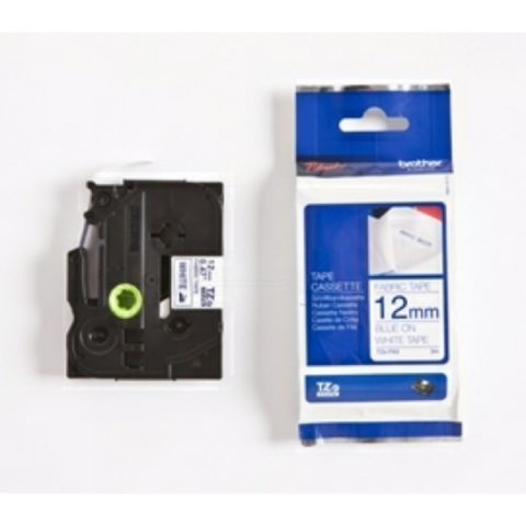 Brother P-Touch 12mm Textilband blau auf weiss,